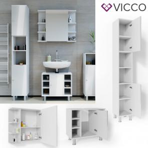 VICCO Badmöbel Set FYNN 3 Teile Weiß Hochglanz