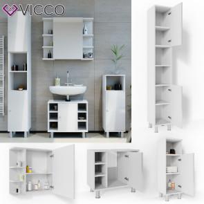 VICCO Badmöbel Set FYNN 4 Teile Weiß Hochglanz