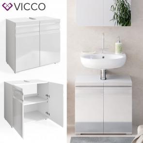 VICCO Waschtischunterschrank FREDDY Weiß Hochglanz