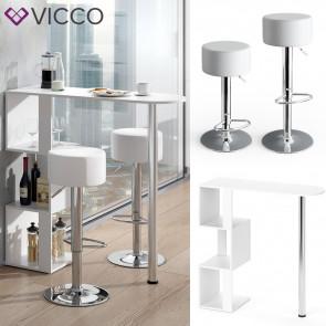 VICCO Bartisch VINCENT Weiß inkl. Barhocker