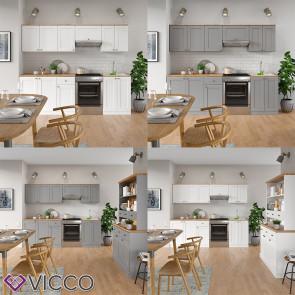 VICCO Küchenzeile Cambridge 240cm Landhaus Stil Einbauküche Komplettküche Küche