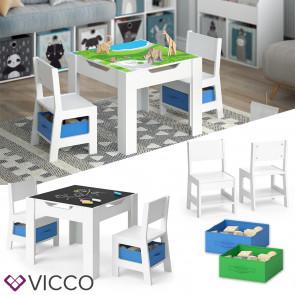 VICCO Kindersitzgruppe STELLA Sitzgruppe für Kinder 2 Stühle Tisch Maltisch Holz