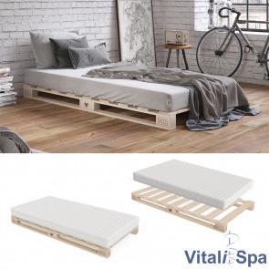 VitaliSpa Palettenbett 100x200 inklusive Matratze Härtegrad hart