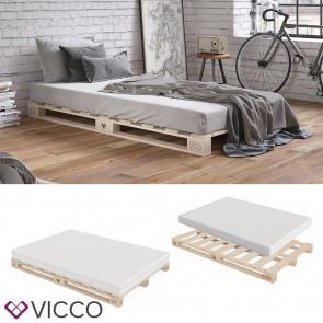VICCO Palettenbett 140x200 inklusive Matratze Härtegrad mittel