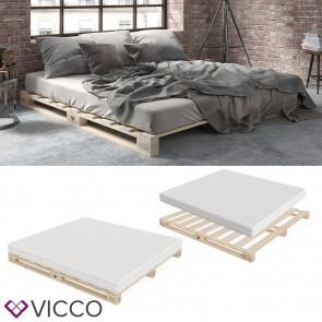VICCO Palettenbett 160x200 inklusive Matratze Härtegrad mittel