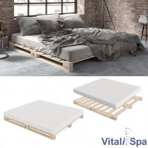 VitaliSpa Palettenbett 180x200 inklusive Matratze Härtegrad mittel