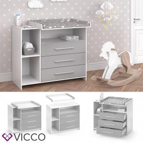 VICCO Wickelkommode OSKAR weiß-grau