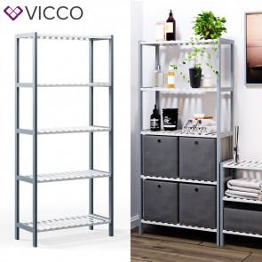 VICCO Bambusregal 5 Ebenen 4 Faltboxen
