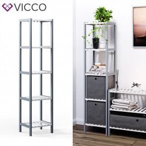 VICCO Bambusregal 5 Ebenen 2 Faltboxen