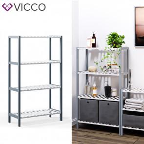 VICCO Bambusregal 4 Ebenen 2 Faltboxen