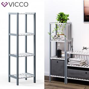 VICCO Bambusregal 4 Ebenen 1 Faltbox