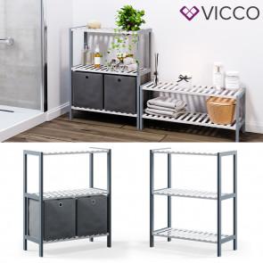VICCO Bambusregal 3 Ebenen 2 Faltboxen