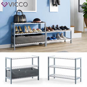 VICCO Bambusregal Schuhregal 3 Ebenen 1 Faltbox