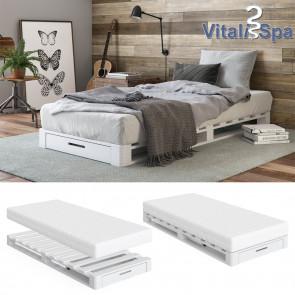 VitaliSpa Palettenbett mit Schublade Weiß 90 x 200 cm + Matratze