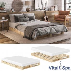 VitaliSpa Palettenbett mit Schubladen Natur 140 x 200 cm + Matratze