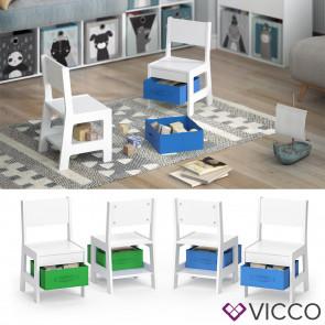 VICCO Kinderstuhl 2er Set STELLA mit Aufbewahrungsboxen Holz Kindermöbel Stuhl