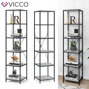 VICCO Loft Standregal Fyrk Bücherregal Wandregal Beton Regal 174x40x40 cm