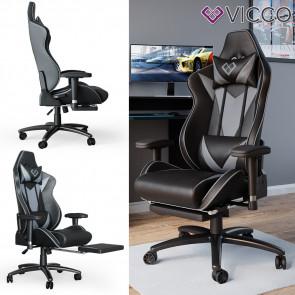 VICCO Gaming Chair SIRIUS Racing Stuhl Bürostuhl Chefsessel Fußstütze PU-Leder