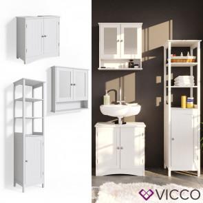 VICCO Badmöbelset 2 Bianco (Waschtischunterschrank + Badschrank + Spiegelschrank)
