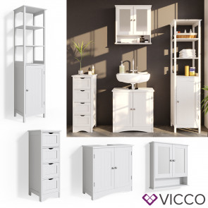VICCO Badmöbelset 4 Bianco (Waschtischunterschrank + Badschrank + schmaler Badschrank + Spiegelschrank)