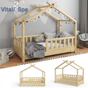 VITALISPA Hausbett DESIGN 70x140cm Holz Natur Zaun