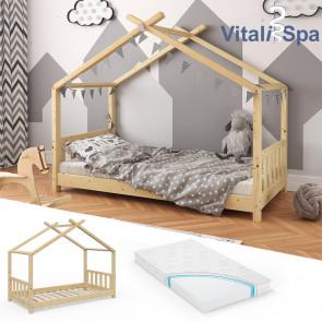 VITALISPA Hausbett DESIGN 80x160cm Holz Natur mit Matratze