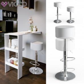 Vicco Design Barhocker 2er Set Weiß