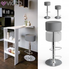 Vicco Design Barhocker 2er Set Grau