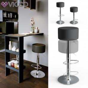 Vicco Design Barhocker 2er Set Schwarz