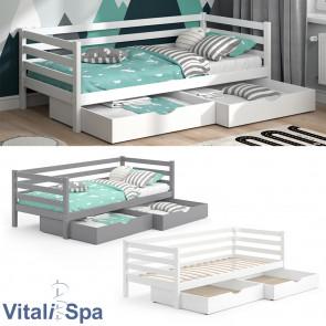 VITALISPA Kinderbett DARCY 90x200cm Lattenrost Schubladen Jugendbett Juniorbett