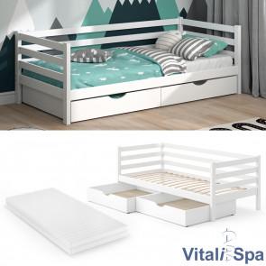 VITALISPA Kinderbett DARCY Weiß mit Matratze und Schubladen