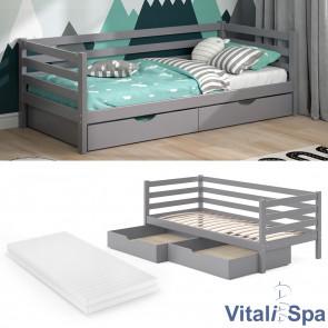 VITALISPA Kinderbett DARCY Grau mit Matratze und Schubladen