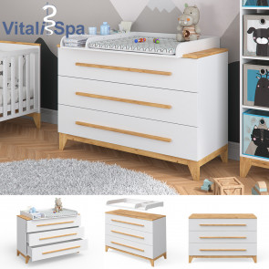 VITALISPA Wickeltisch MALIA grau Holz Wickelkommode Baby Wickelregal Babym/öbel