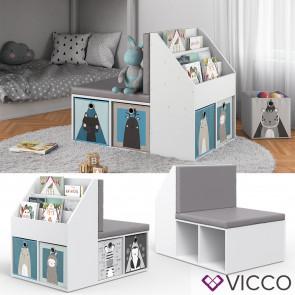 VICCO Kinderregal ONIX mit Sitzbank Kindersitzbank Spielzeug Kinderzimmerregal