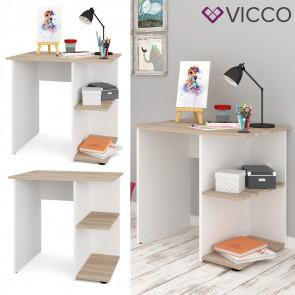 VICCO Schreibtisch SIMPLE Sonoma Weiß Arbeitstisch Computer Kinder Büro Ablage