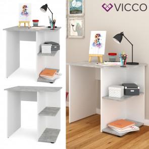 VICCO Schreibtisch SIMPLE Beton Weiß Arbeitstisch Computer Kinder Büro Ablage