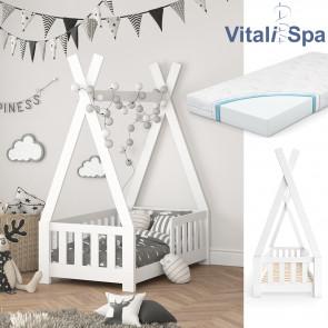 VITALISPA Hausbett TIPI 70x140cm Weiß + Matratze