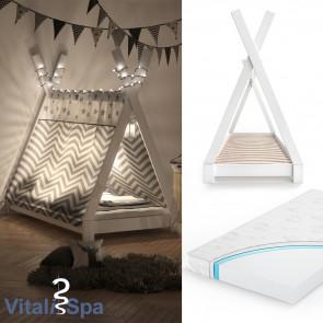 VITALISPA Kinderbett TIPI 80x160 cm Weiß + Matratze
