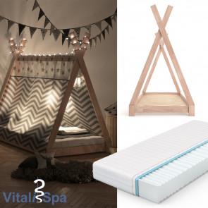 VITALISPA Kinderbett TIPI 90x200 cm Natur + Matratze