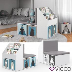 VICCO Kinderregal ONIX mit Sitzbank 6 Faltboxen Kindersitzbank Kinderzimmerregal