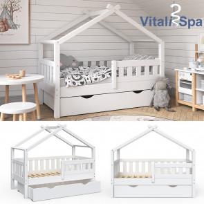 VITALISPA Hausbett DESIGN 70x140cm Babybett mit Schublade Weiß