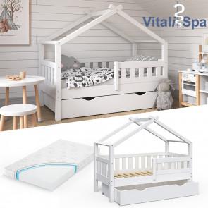 VITALISPA Hausbett DESIGN 70x140cm Babybett mit Schublade Matratze Weiß