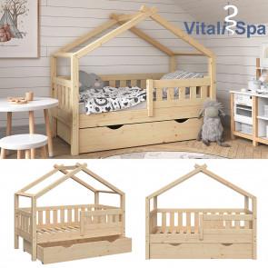 VITALISPA Hausbett DESIGN 70x140cm Babybett mit Schublade Natur