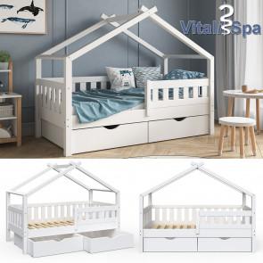 VITALISPA Hausbett DESIGN 160x80 Jugendbett 2 Schubladen Weiß