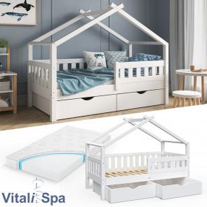 VITALISPA Hausbett DESIGN 160x80 Jugendbett 2 Schubladen Matratze Weiß