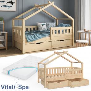 VITALISPA Hausbett DESIGN 160x80 Jugendbett 2 Schubladen Matratze Natur