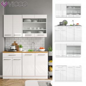 VICCO Küchenzeile Single Fame-Line Weiß Hochglanz