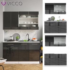 VICCO Küchenzeile Single Fame-Line Anthrazit Hochglanz