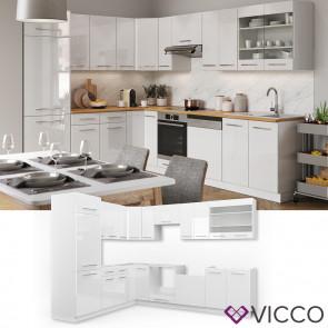 VICCO Küchenzeile Fame-Line Eckküche Weiß Hochglanz