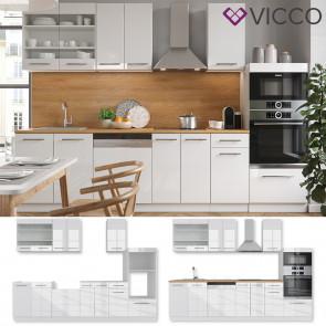 VICCO Küchenzeile Fame-Line 240 cm Weiß Hochglanz